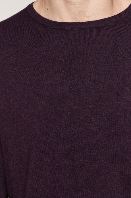 Sweter męski z gładkiej dzianiny fioletowy
