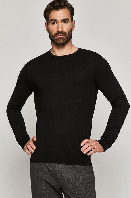 Sweter męski z gładkiej dzianiny czarny