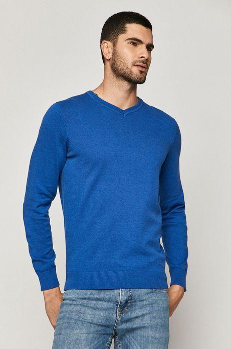 Sweter męski bawełniany z dekoltem V niebieski