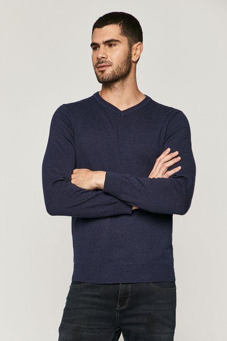 Sweter męski bawełniany z dekoltem V granatowy