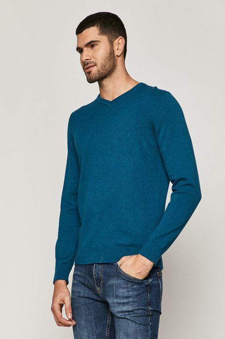 Sweter męski bawełniany z dekoltem V turkusowy