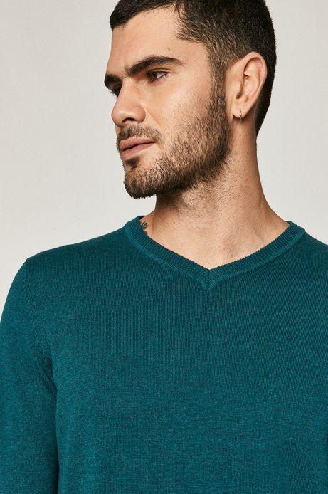 Sweter męski bawełniany z dekoltem V zielony
