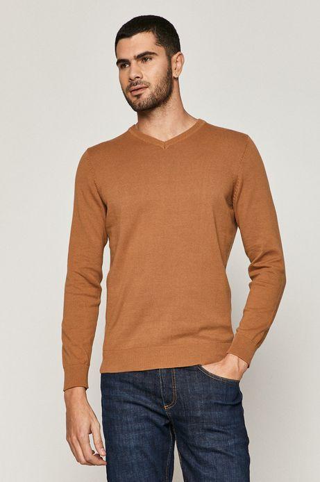 Sweter męski bawełniany z dekoltem V beżowy