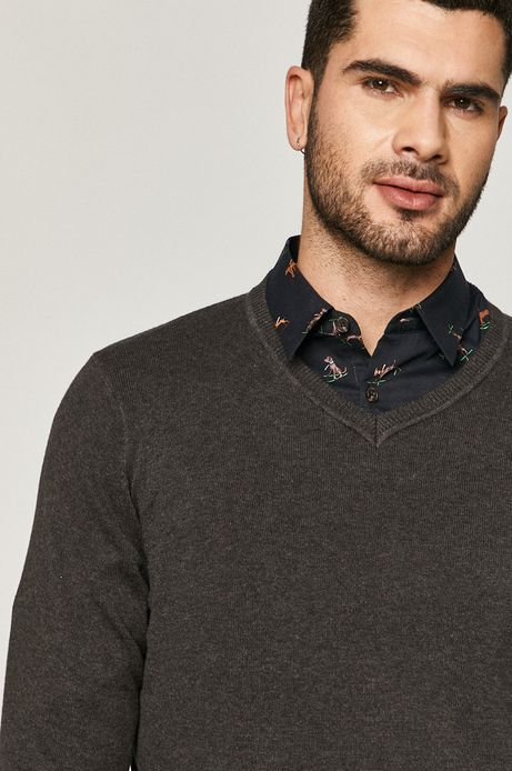 Sweter męski bawełniany z dekoltem V szary