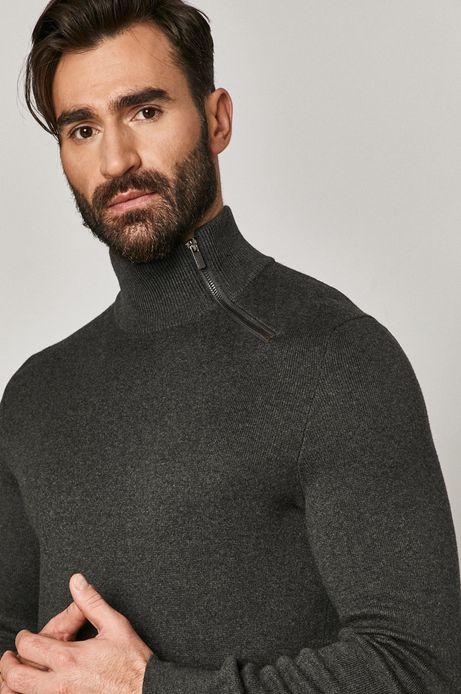 Bawełniany sweter męski z golfem szary