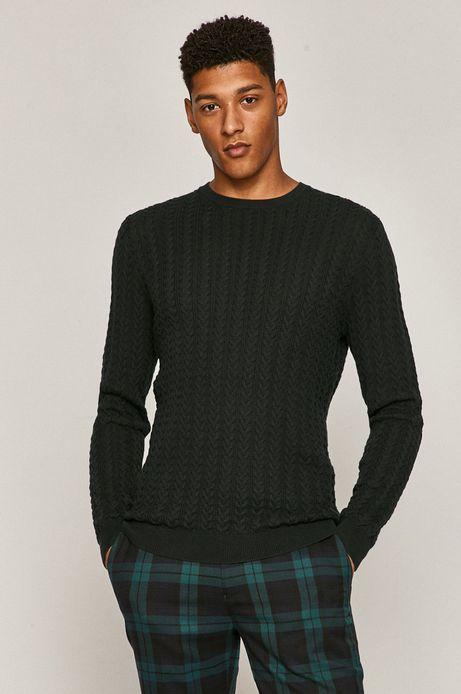 Sweter męski ze splotem zielony
