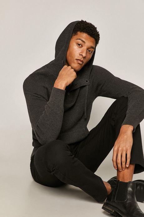 Sweter męski bawełniany z kapturem szary