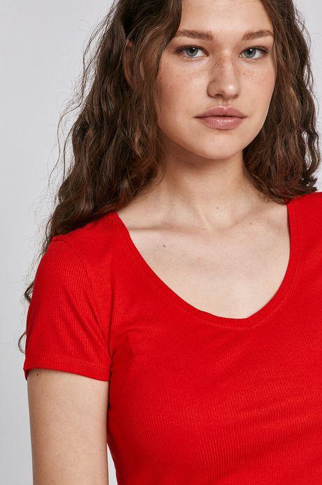 T-shirt damski ze spiczastym dekoltem czerwony
