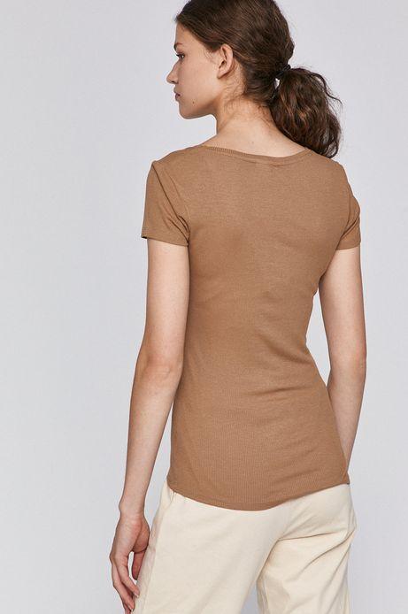T-shirt damski ze spiczastym dekoltem beżowy