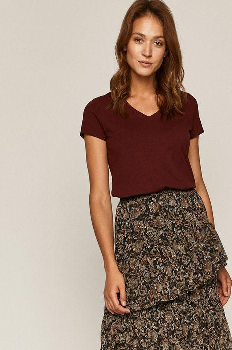 T-shirt damski z bawełny organicznej bordowy