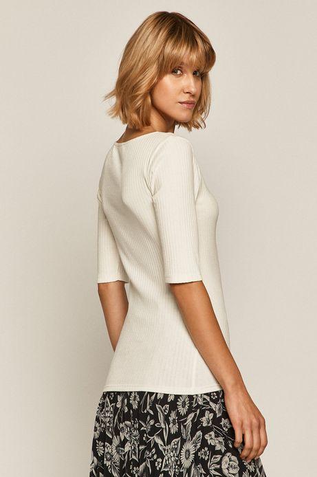 T-shirt damski w prążki beżowy