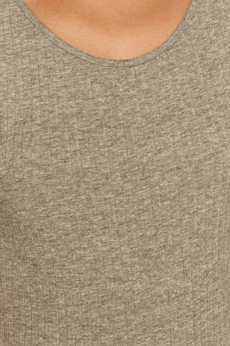 T-shirt damski w prążki szary
