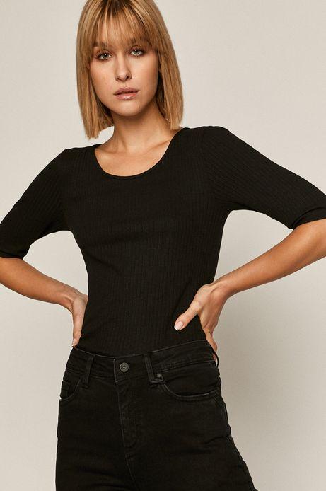 T-shirt damski w prążki czarny