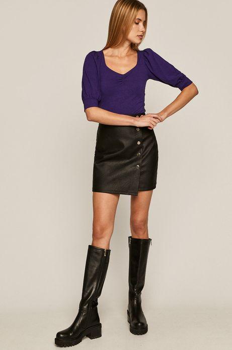 Bluzka damska z bufkami fioletowa