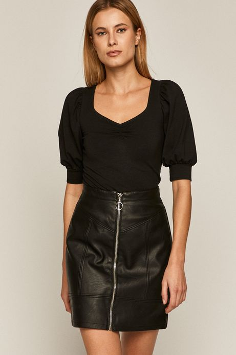 Bluzka damska z bufkami czarna