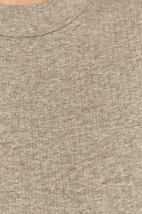 T-shirt damski z prążkowanej dzianiny szary