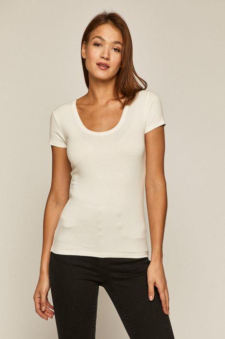 T-shirt damski w prążki kremowy