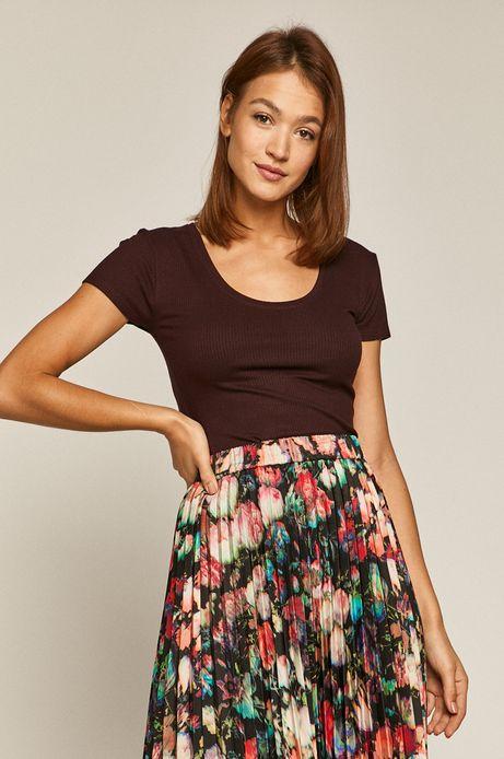 T-shirt damski w prążki bordowy
