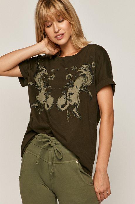 T-shirt damski z nadrukiem zielony