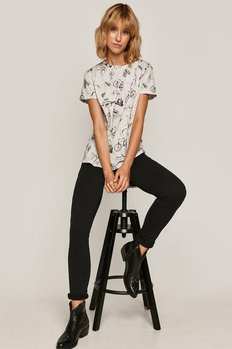 T-shirt damski wzorzysty kremowy