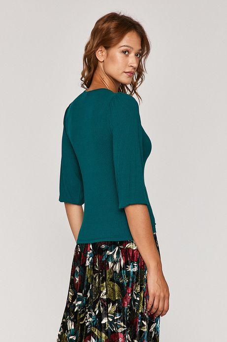 T-shirt damski ze spiczastym dekoltem zielony