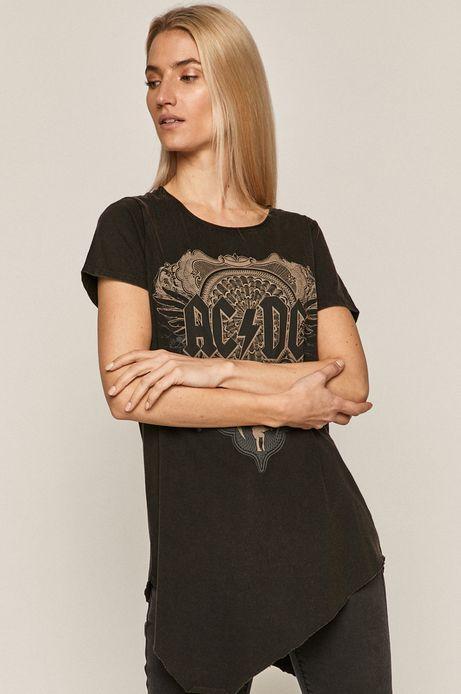 T-shirt damski z nadrukiem AC/DC czarny