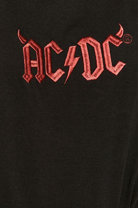 T-shirt damski z bawełny organicznej z nadrukiem AC/DC czarny