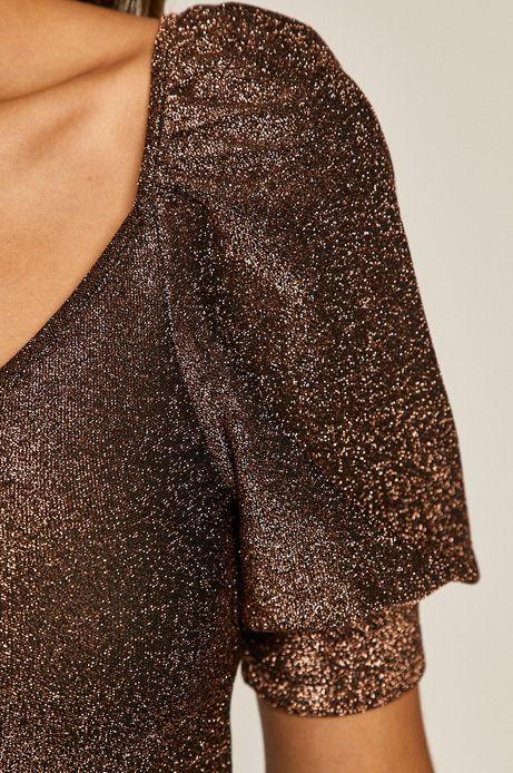 Bluzka damska z bufkami z metaliczną nitką bordowa