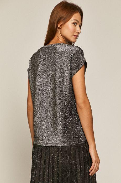 T-shirt damski z metaliczną nitką szary