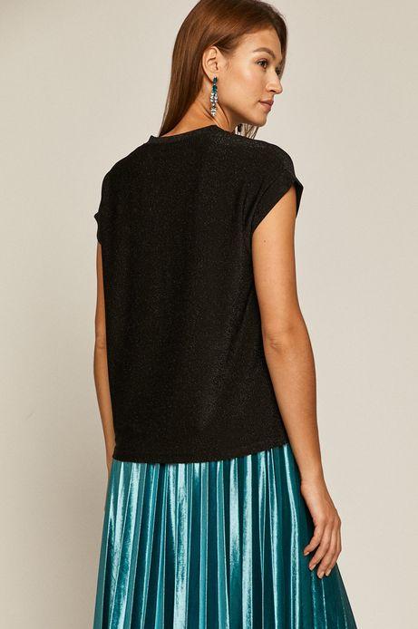 T-shirt damski z metaliczną nitką czarny