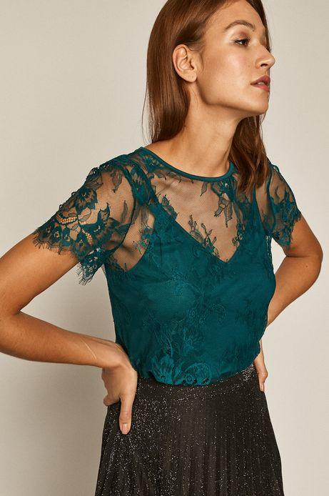 Bluzka damska koronkowa turkusowa