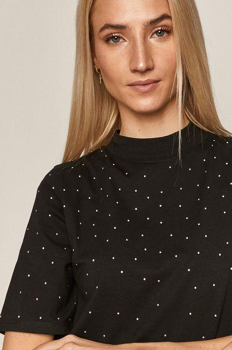 T-shirt damski z aplikacją czarny