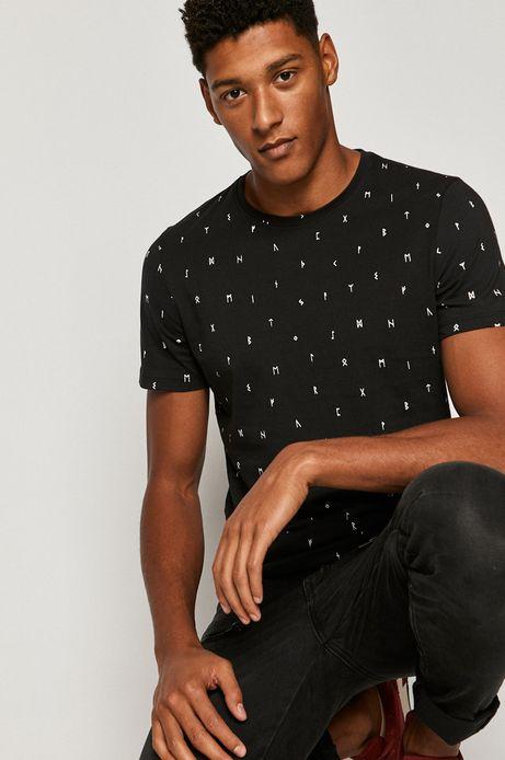 T-shirt męski w drobny nadruk czarny