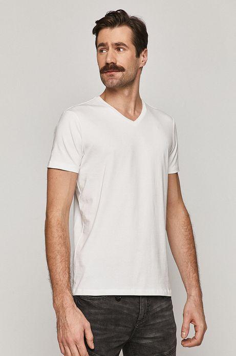 T-shirt męski Basic ze spiczastym dekoltem biały