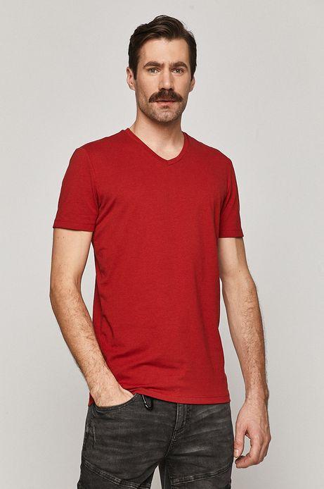 T-shirt męski Basic ze spiczastym dekoltem czerwony