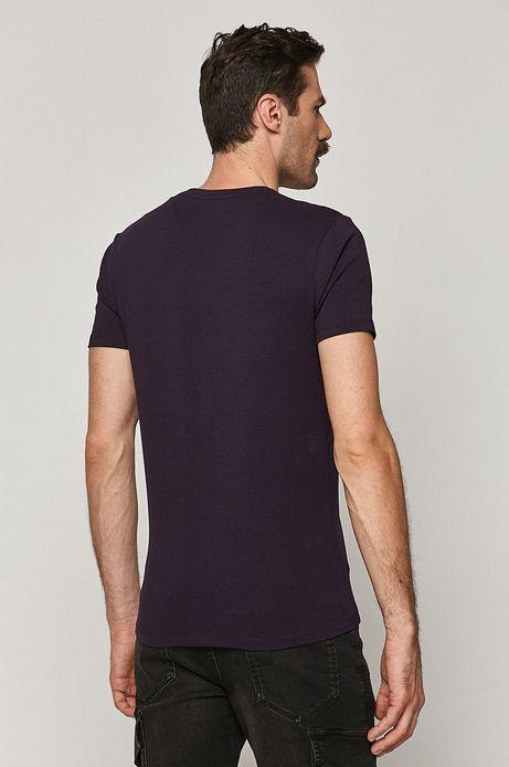 T-shirt męski Basic ze spiczastym dekoltem fioletowy