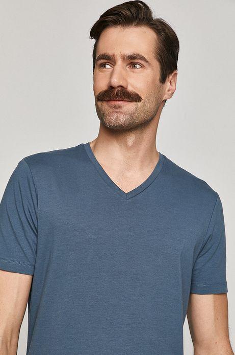 T-shirt męski Basic ze spiczastym dekoltem niebieski