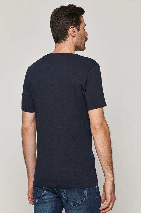 T-shirt męski Basic ze spiczastym dekoltem granatowy