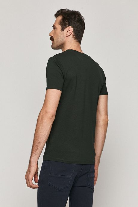T-shirt męski Basic ze spiczastym dekoltem zielony