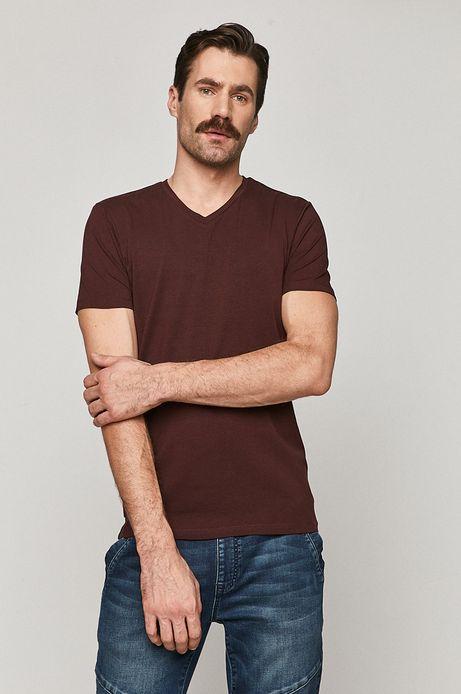 T-shirt męski Basic ze spiczastym dekoltem bordowy