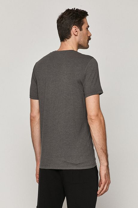 T-shirt męski Basic ze spiczastym dekoltem szary