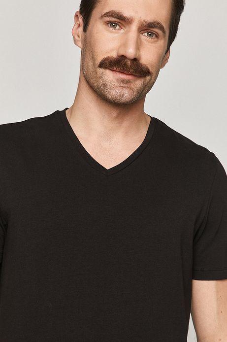 T-shirt męski Basic ze spiczastym dekoltem czarny