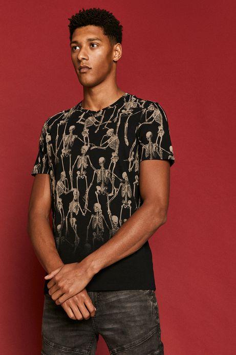 T-shirt męski Halloween z bawełny organicznej czarny