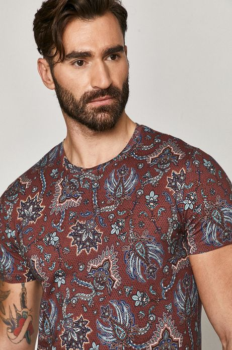T-shirt męski z bawełny organicznej bordowy