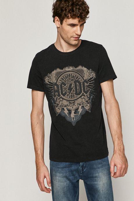 T-shirt męski z nadrukiem AC/DC czarny