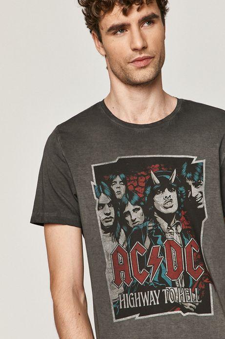 Bawełniany t-shirt męski z nadrukiem AC/DC szary