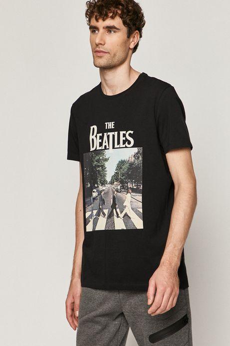 T-shirt męski z nadrukiem The Beatles czarny