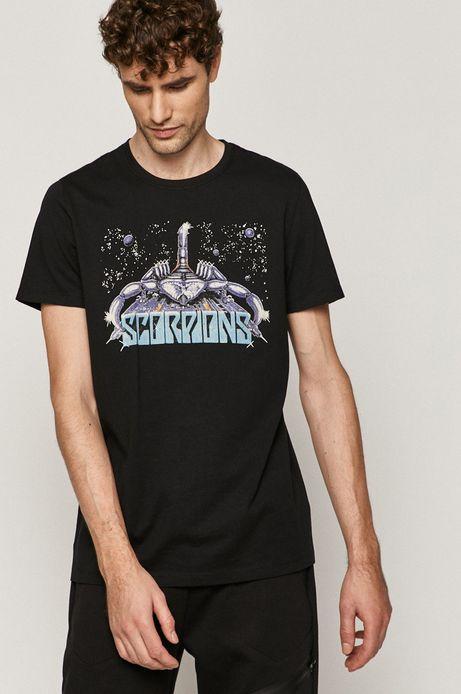 T-shirt męski Scorpions z nadrukiem czarny