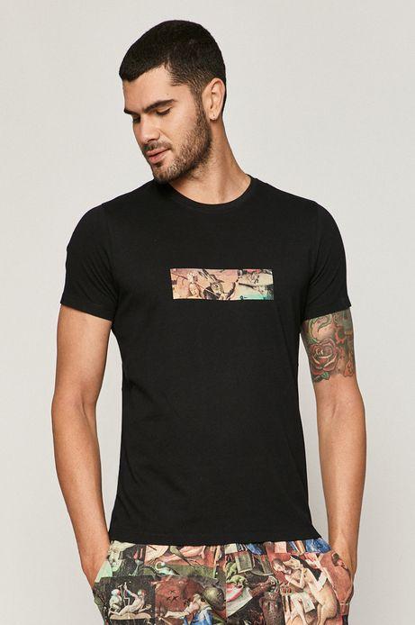 T-shirt męski bawełniany z nadrukiem czarny
