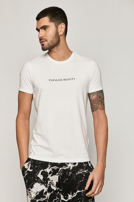 T-shirt męski z napisem z bawełny organicznej biały